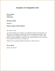format of acceptance of resignation letter Sample resignation acknowledgement letter for all employees except adjunct faculty date to: name of employee from: name of human resources officer or designee this is to acknowledge your resignation from your position as (title of position) at the (school/unit/department), effective (resignation date.
