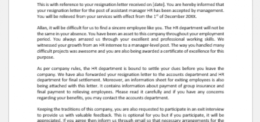 Acceptance of a resignation letter