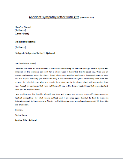 Letter of Sympathy for an Accident