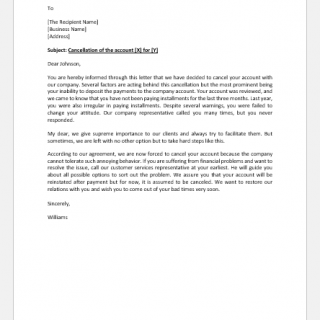 Account Cancellation Letter Due to Non-Payment