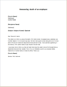 Letter Announcing Death of an Employee