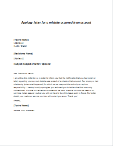 Apology letter for a mistake occurred in an account