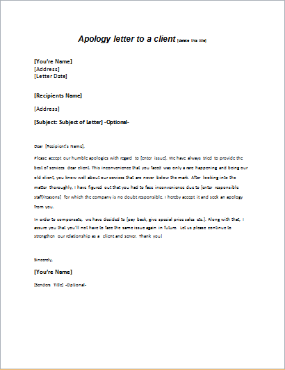 Services Apology Letter to a Client writeletter2com
