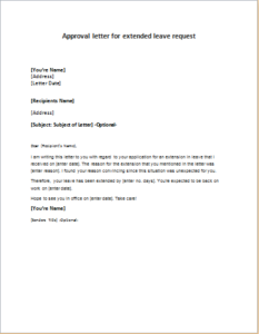 Approval letter for extended leave request