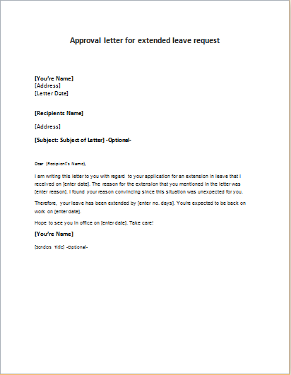 extended leave request approval letter