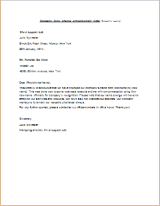 Company Name Change Announcement Letter | writeletter2.com