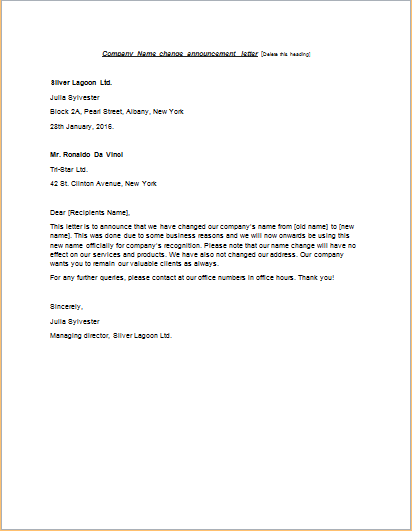 Company Name change announcement letter