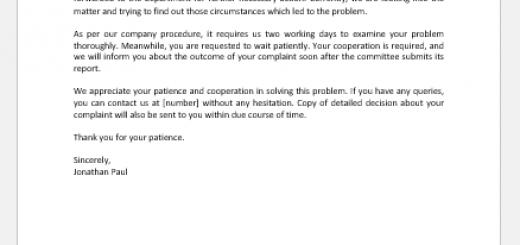 Complaint Acknowledgement Letter