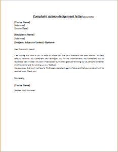 Complaint acknowledgement letter