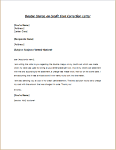 Double Charge on Credit Card Correction Letter