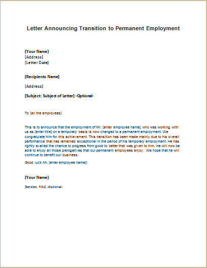 Permanent employment announcement letter for Permanent contract of employment template