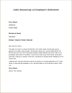 Letter Announcing an Employees Retirement