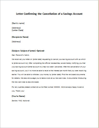 Letter Confirming the Cancellation of a Savings Account
