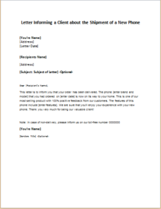 Letter Informing a Client about the Shipment of a New Phone