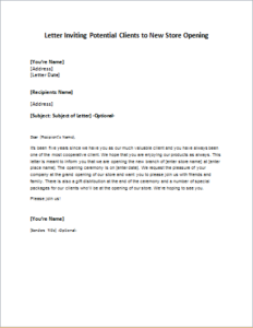 Letter Inviting Potential Clients to New Store Opening