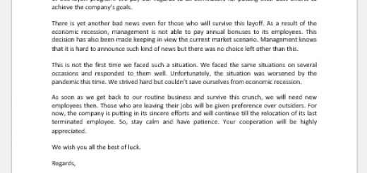 Letter announcing bad news to employees
