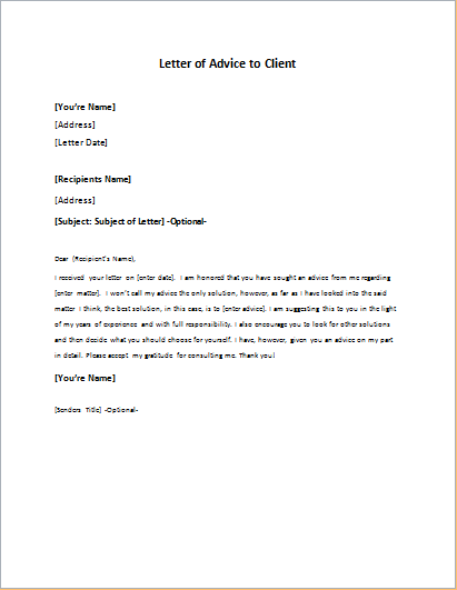 Advice Letter To Client Writeletter2 Com