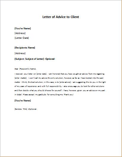 Business Advice Letter Sample