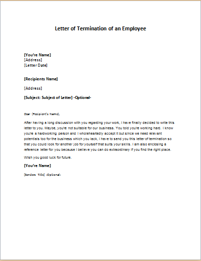 Letter of Termination of an Employee