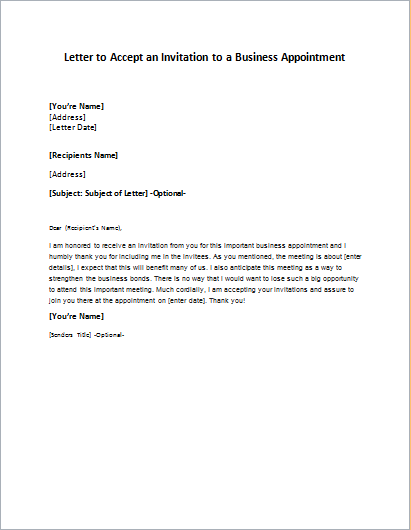 Letter to Accept an Invitation to a Business Appointment