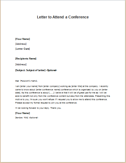 Letter Requesting To Attend A Conference Writeletter2 Com