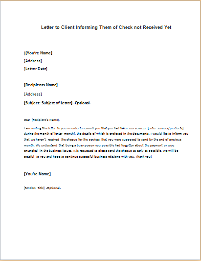 cover letter informing clients of resignation