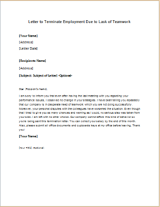 Letter to Terminate Employment Due to Lack of Teamwork