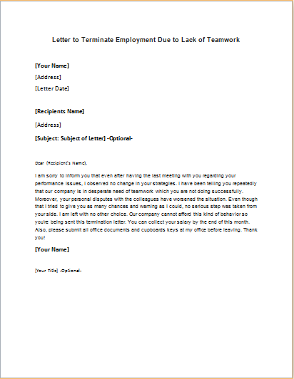 Employment Termination Letter Due To Lack Of Teamwork
