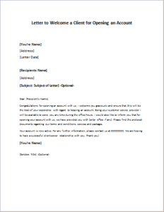 Letter to Welcome a Client for Opening an Account