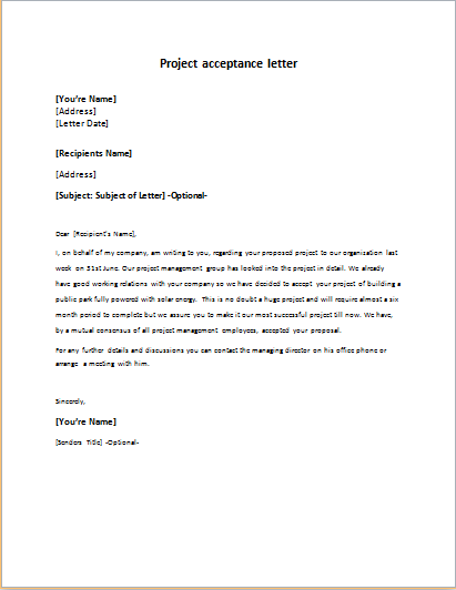 Project Acceptance Letter