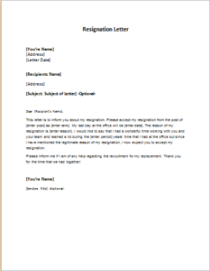 Resignation Letter Sample Template