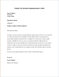 School Fee Increase Announcement Letter
