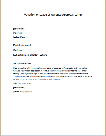 Vacation or leave of absence approval letter writeletter2 altavistaventures Image collections