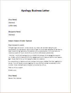 Apology Business Letter