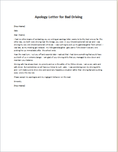 Apology Letter for Bad Driving writeletter2com