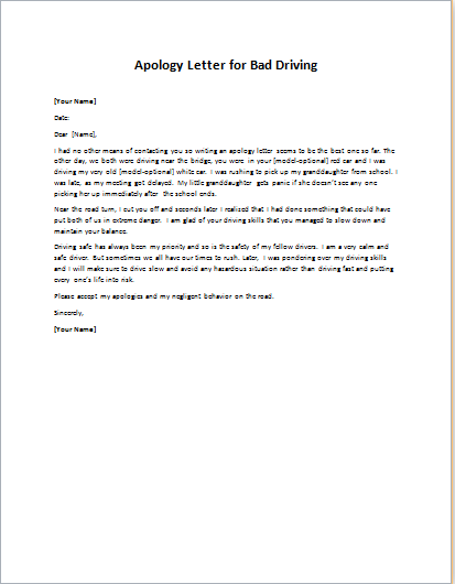 Apology Letter for Bad Driving
