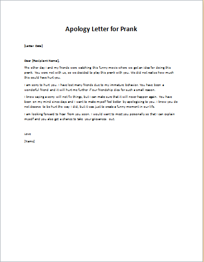 Apology Letter To Friend For A Prank