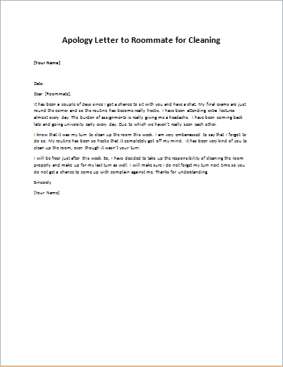 Apology Letter to Roommate for Cleaning