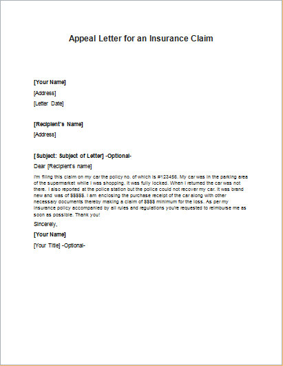 appeal letter to medical insurance company