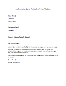 New Website Study Authorization Letter