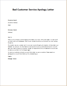 Download Details: Bad Customer Service Apology Letter  Letter To Customer