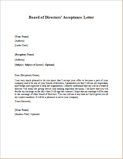 Letter To Board Of Directors from writeletter2.com