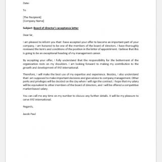 Board of Directors' Acceptance Letter