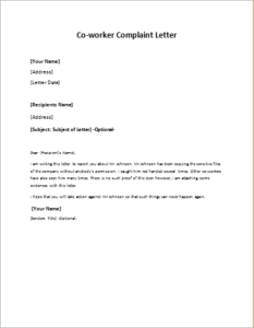 Complaint Letter about Co-worker or Colleague