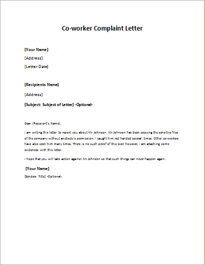 Complaint Letter To Boss from writeletter2.com