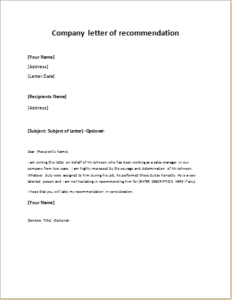 Company letter of recommendation