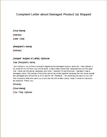 Complaint Letter about Damaged Product Shipped