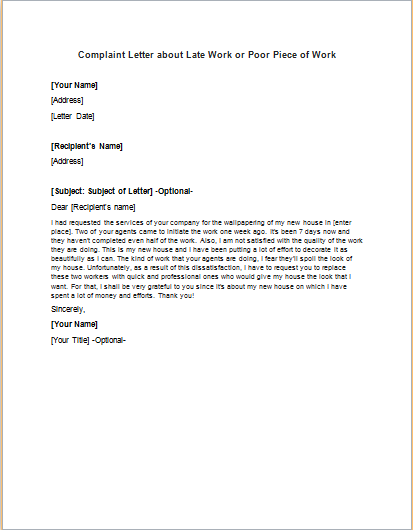 Complaint Letter about Late Work or Poor Piece of Work