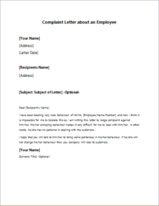 Complaint Letter about an Employee