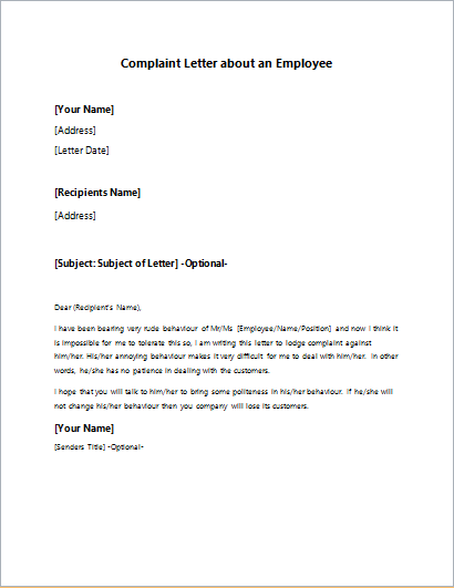 Complaint-Letter-about-an-Employee Official Apology Letter Template on free microsoft, for student behavior, formal professional, poor customer service,